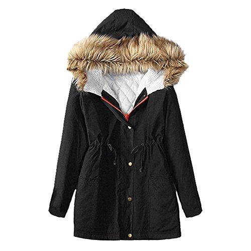 Eleery Veste Femme Parkas Manteau Jacket Cardigan Fourrure Faux Manches Longues Épais Chaud Casual Automne Hiver (FR48-50, Noir)