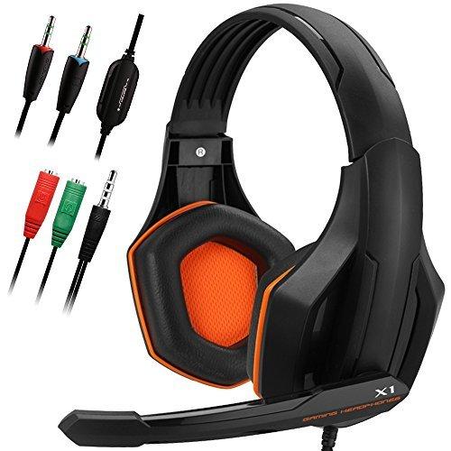 Gaming Headset, DLAND 3.5mm hanno fissato Bass isolamento Stereo rumore di gioco delle cuffie con microfono per il computer portatile, cellulare, PS4 e controllo del volume in modo on-(nero e arancione)