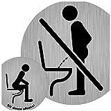 Kombi Toiletten-Schild - Nicht im Stehen und Im Sitzen pinkeln Aufkleber, 9,5 cm Ø bzw. 5 cm Ø, Sit down to pee, für Hoteltoilette, Kundentoilette, Gäste-WC
