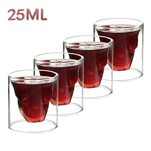 Vasos de chupito con forma de calavera en el interior, vaso de vidrio