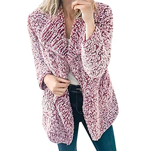 Frauen Jacke Strickjacken MYMYG Strick Sweater Mäntel Herbst Winter Cardigan Langarm Long Sleeve Dick mit Kapuze öffnen Stitch Coat Winterjacke (Lila,EU:38/CN-L)