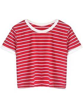 ❤️ Camisetas Mujer Deporte,Las Mujeres de Moda de Manga Corta a Rayas Camiseta Casual O Cuello Chaleco Tops Blusa...