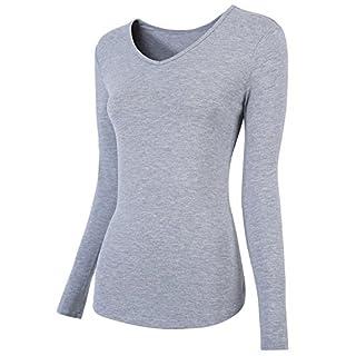 AUSERO 3er Pack Women Tops Cotton-Blend Long Sleeve T- Shirt, Regular Fit, V Neck Underscrub Tee (White+Grey+Black+Mix Colors) - - XXX-Large
