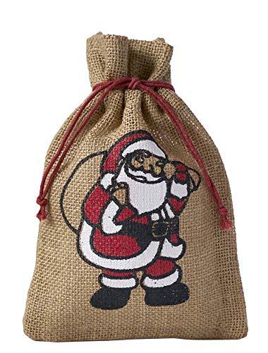 5 naturfarbene Jutebeutel, Jutesäcke mit farbigem Weihnachtsmann Motiv, Nikolaus, Geschenkverpackung, Weihnachten, Dekoration, Santa Claus, Geschenk, Advent, Winter, Weihnachtsfest (40x30cm)