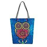 Felicove Canvas Taschen, Eule gedruckt Canvas Tote Casual Strandtaschen Frauen Einkaufstasche Handtaschen