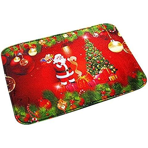 Highdas Coral stampa cachemire cartone animato Babbo tappetini assorbenti rilievo del piede antiscivolo spugna albero di Natale 40 * 60cm
