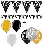 Feste Feiern Geburtstagsdeko Zum 60. Geburtstag | 7 Teile All-in-One Set Luftballons Wimpelkette Banner Gold Schwarz Silber Party Deko Happy Birthday