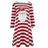 TEBAISE Weihnachten Kleid Damen Santa Rentier Wall Schneeflocken Kostüm Weihnachten Swing Kleid Übergröße