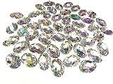 50 x 13 18mm Zum aufnähen Acryl Oval Glitzersteine Kristall Edelsteine AB KLAR