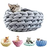 Y-Step Hand-knitted Soft Washable Pet Bed for Cats Kitten (Light Grey)