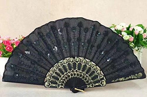 ricisung Pfau Modeling schwarz Pole Pailletten bestickt Fan, schwarz (Burlesque Kostüm Bedeutung)