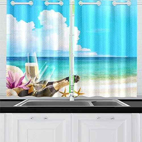 JINCAII Romantisches Meer Strand Weingläser Champagner Küche Vorhänge Fenster Vorhang Stufen für...