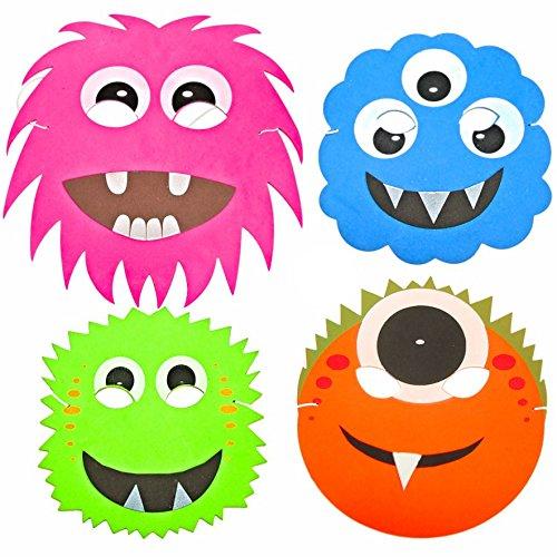 Blue Frog Toys 4 Monster- und Alien-Halloween-Masken aus Schaumstoff, Masken für Kinder