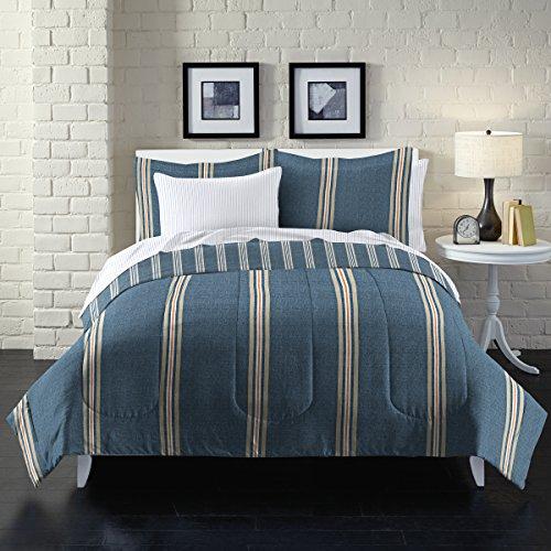 LOFT Style Heathered Streifen Bettwäsche Tröster Set, blau, full