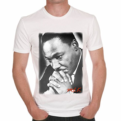 Martin Luther King Prying Men's T-shirt ONE IN THE CITY - White, M