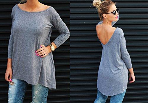 Damen Tunika Bluse Longshirt Top Ausschnitt Hinten Casual Damen Shirt S M L (301) Graphite