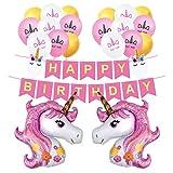 Einhorn Luftballons Rosa Deko Happy Birthday Banner Latex Ballons mit Einhorn Gesicht Kindergeburtstag Geburstag Dekoration Set