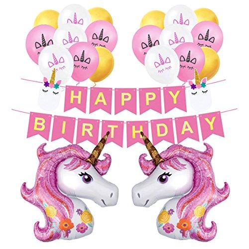 (Einhorn Luftballons Rosa Deko Happy Birthday Banner Latex Ballons mit Einhorn Gesicht Kindergeburtstag Geburstag Dekoration Set)