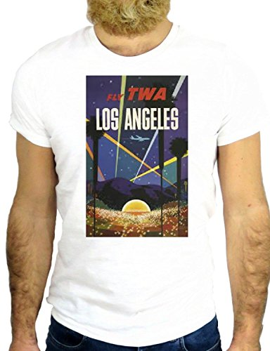 T SHIRT Z0879 TWA LOS ANGELES NO VINTAGE USA AMERICA CALIFORNIA COOL ROCK GGG24 BIANCA - WHITE