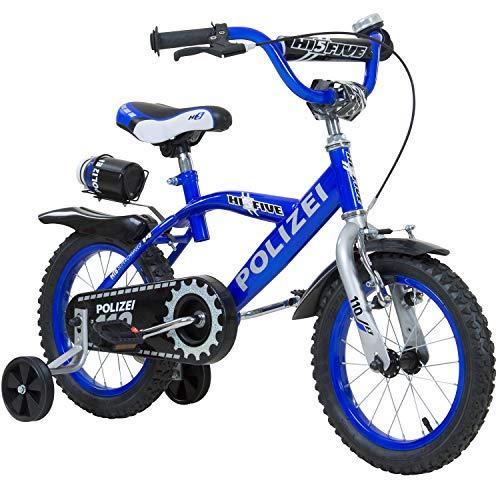 Hi5 14 Zoll Polizei oder Feuerwehr Kinderfahrrad mit Rücktritt rot blau, Ausführung:Feuerwehr - Fahrrad-polizei