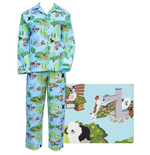 Der Katze Schlafanzüge Blau blau Hunde Day Out Damen Flanell Pyjama Gr. Large, blau (Flanell Lg)