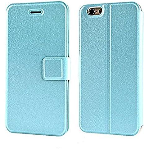Qissy®Custodia in pelle della copertura di vibrazione caso di cuoio per Iphone 6 Plus / 6s plus 5,5 pollici nero