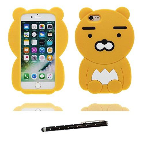 """iPhone 6 Plus Coque, iPhone 6S Étui Cover Housse pour iPhone 6s Plus 5.5 """" Gel TPU Shell iPhone 6 Plus Case (5.5"""") Résistant à la poussière Scratch (3D Cartoon Pêche Chatting Expression ) et stylet jaune"""