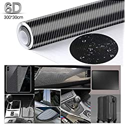 Anpro 6D Film Autocollant Étanche de Voiture Adhésif Vinyle en Fibre de Carbone 3M x 0.3M Imperméable Antiadhésive pour Voiture,Ordinateur,Coque de Smartphone,Moto,Véhicule-Noir