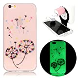 Samsung Galaxy S7 Edge SM-G935F Case [Night Luminous],Vandot Fluorescent Light Painting Pattern Slim Fit Shock-Absorbing Soft TPU Silicone Back Cover Transparent Protective Case-Colorful Flying Dandelion+Phone Holder