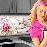 Küchenrückwand < Orchideen Weiß > Premium Hart-PVC 0,4 mm selbstklebend 220x51cm