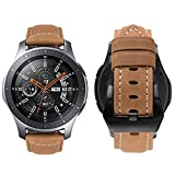 MroTech Cinturino in Vera Pelle compatibile per Samsung Galaxy Gear S3 Frontier/ Classic, Galaxy Watch 46mm, PEBBLE Time, LG G Watch/R/Urbane, Amazfit Pace, fossil q 22mm Braccialetto (Khaki, Grande)