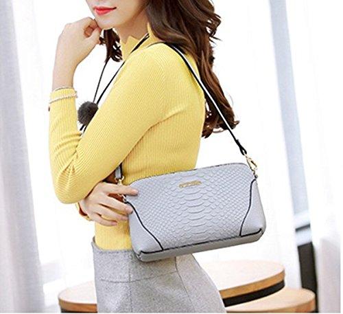 Damen Shell Stil Handtasche Weiß Schulter Messenger Tasche Klein Hell-Grau