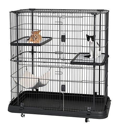 Prevue Pet Products 7501Deluxe Cage pour Chat avec 3Niveaux, Noir