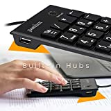 Perixx PERIPAD-202 Tastierino Numerico - USB - con 2 USB Hub - con Tasto TAB - Full-Size 19 Tasti - Grandi Stampa - Nero