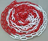 PCH-6x12.5 Rote und weiße Kunststoffkette 6 mm, 12.5 Meter lang