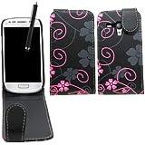 Samrick Housse à clapet pour Samsung Galaxy S3 Mini i8190/i8190N avec NFC avec film de protection écran, chiffon de nettoyage en microfibre et stylet haute capacité Motif floral Noir/rose
