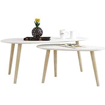 Couchtische 2er-Set Weiße Holz Sofa Tische für Wohnzimmer Runde ...