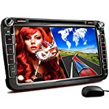 XOMAX XM-2DN802 Autoradio passend für Volkswagen VW I SKODA I SEAT mit GPS Navigation, Bluetooth, 20 cm / 8 Zoll Touchscreen Bildschirm, DVD CD Player, SD, USB, Dual Zone, 2 DIN