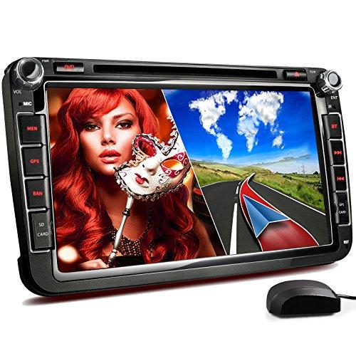 XOMAX XM-2DN802 Autoradio passend für Volkswagen VW I SKODA I SEAT mit GPS Navigation, Bluetooth, 20 cm / 8 Zoll Touchscreen Bildschirm, DVD CD Player, SD, USB, Dual Zone, 2 DIN