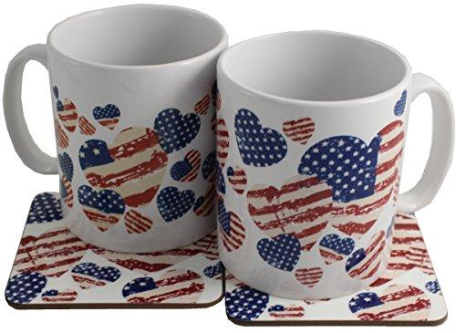 (USA AMERICAN FLAG Paar Keramik Tassen und Untersetzer Geschenk Set)