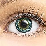 Blaue Premium Kontaktlinsen 3 Tones Blue 14mm Farbige Meralens Linsen Ohne Stärke Blau + Kontaktlinsenbehälter, weiche 3-Monatslinsen im 2er Pack