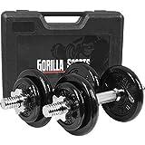 GORILLA SPORTS® Koffer Kurzhantel-Set 20 kg Gusseisen mit Hantelstangen, Gewichten und Sternverschlüssen