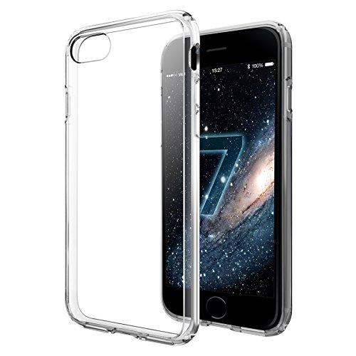 vau Hybrid Case Hülle für Apple iPhone 8 / 7 Diamantschwarz, Schutzhülle transparent (4 Rückseite Aluminium-iphone)