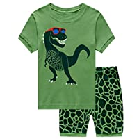 CM-Kid Boys Pyjamas Dinosaur Nightwear Cotton Toddler Clothes Kids Sleepwear Summer Short Sleeve Pjs Sets 2 Piece Outfit for Age 1-7 Years