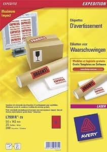 Avery L7991R-25 200 Étiquettes d'avertissement 50 x 142 mm Rouge fluo