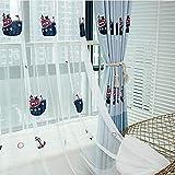 Traumhaus Wohnzimmer Schlafzimmer Arbeitszimmer Jugendzimmer Babyzimmer 1er-Pack mit Ösen Vorhänge Gardinen Schal Bestickt Stickerei Schiff Anker Möwe (Voile, 100 x 245 cm)