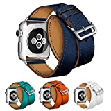 Elobeth Bracelet en cuir véritable extra long double tour pour Apple iWatch