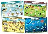 merka Animaux Ensemble de 4 enfants éducatifs napperons comprend sauvage, Mer, Maison et animaux de ferme - Non Slip Lavable