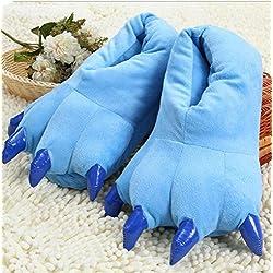 panda supermarket The Dinosaur Claws Cotton Slippers - Zapatillas de estar por casa para mujer, color azul, talla L