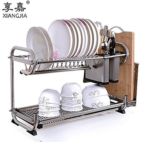 CLG-FLY inox ciotola doppia cremagliera Siu Lek Yuen acqua cucina rack rack in un cestello di lavastoviglie scolapiatti piatto, il ripiano #12 con alta qualità